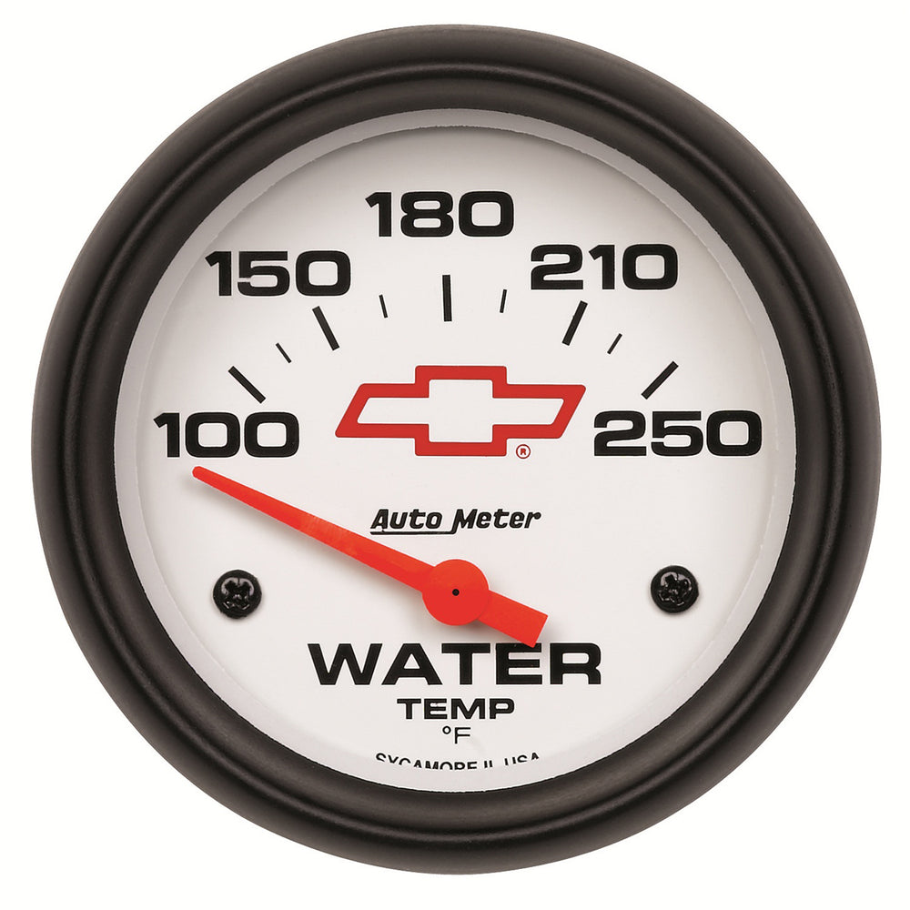 GAUGE, WATER TEMP, 2 5/8in, 100-250?F, ELECTRIC, GM BOWTIE WHITE