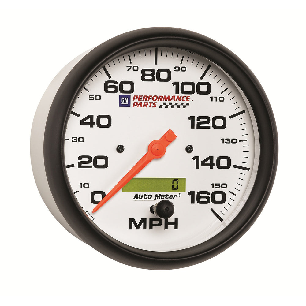 GAUGE, SPEEDOMETER, 5in, 160MPH, ELEC. PROGRAMMABLE, GM PERF. WHITE