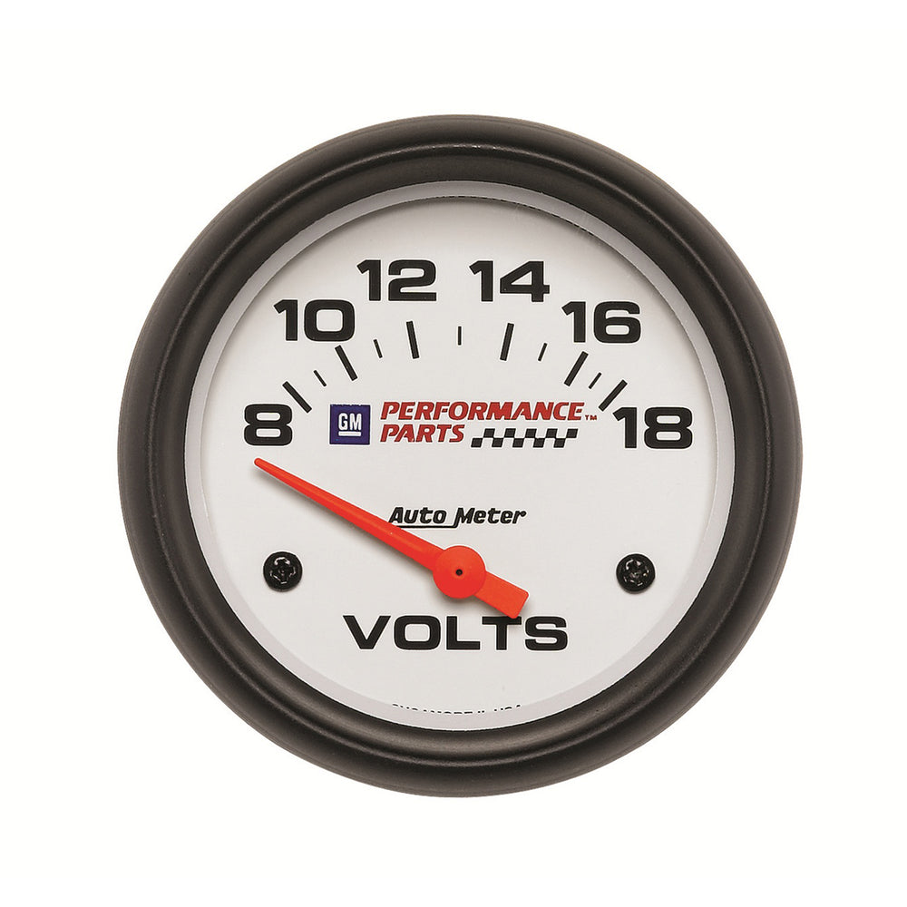 GAUGE, VOLTMETER, 2 5/8in, 18V, ELECTRIC, GM PERF. WHITE