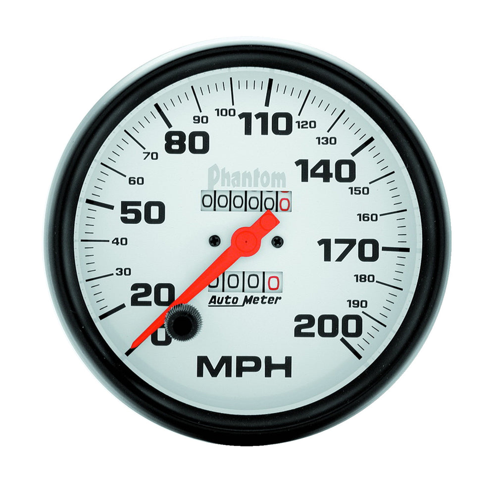 GAUGE, SPEEDOMETER, 5in, 200MPH, MECHANICAL, PHANTOM