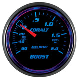 GAUGE, VAC/BOOST, 2 1/16in, 60CMHG-2.0BAR, MECHANICAL, COBALT