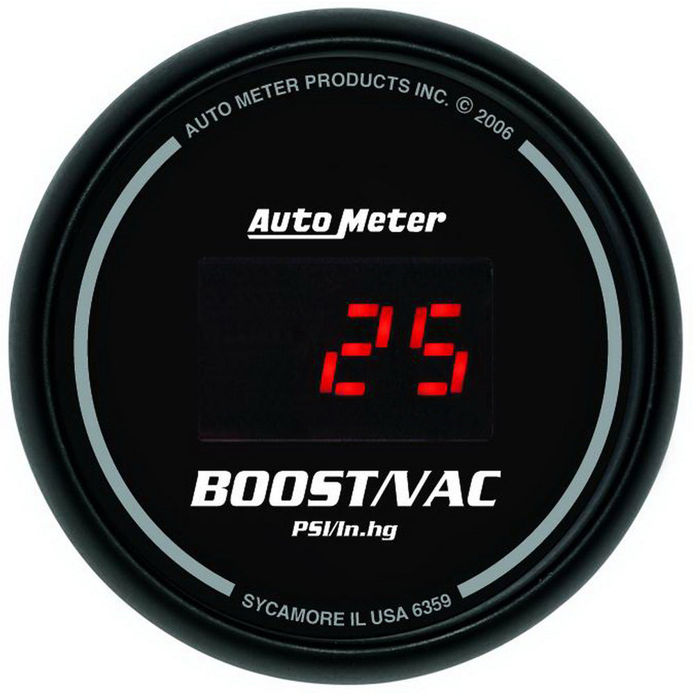 GAUGE, VAC/BOOST, 2 1/16in, 30INHG-30PSI, DIGITAL, BLACK DIAL W/ RED LED
