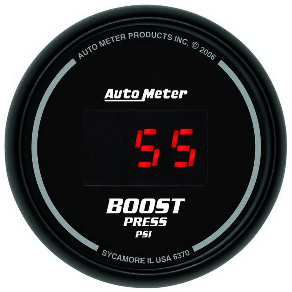 GAUGE, BOOST, 2 1/16in, 60PSI, DIGITAL, BLACK DIAL W/ RED LED
