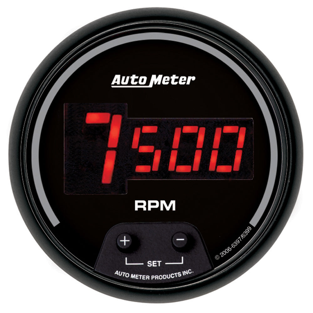 GAUGE, TACH, 3 3/8in, 10K RPM, IN-DASH, DIGITAL, BLACK DIAL W/ RED LED