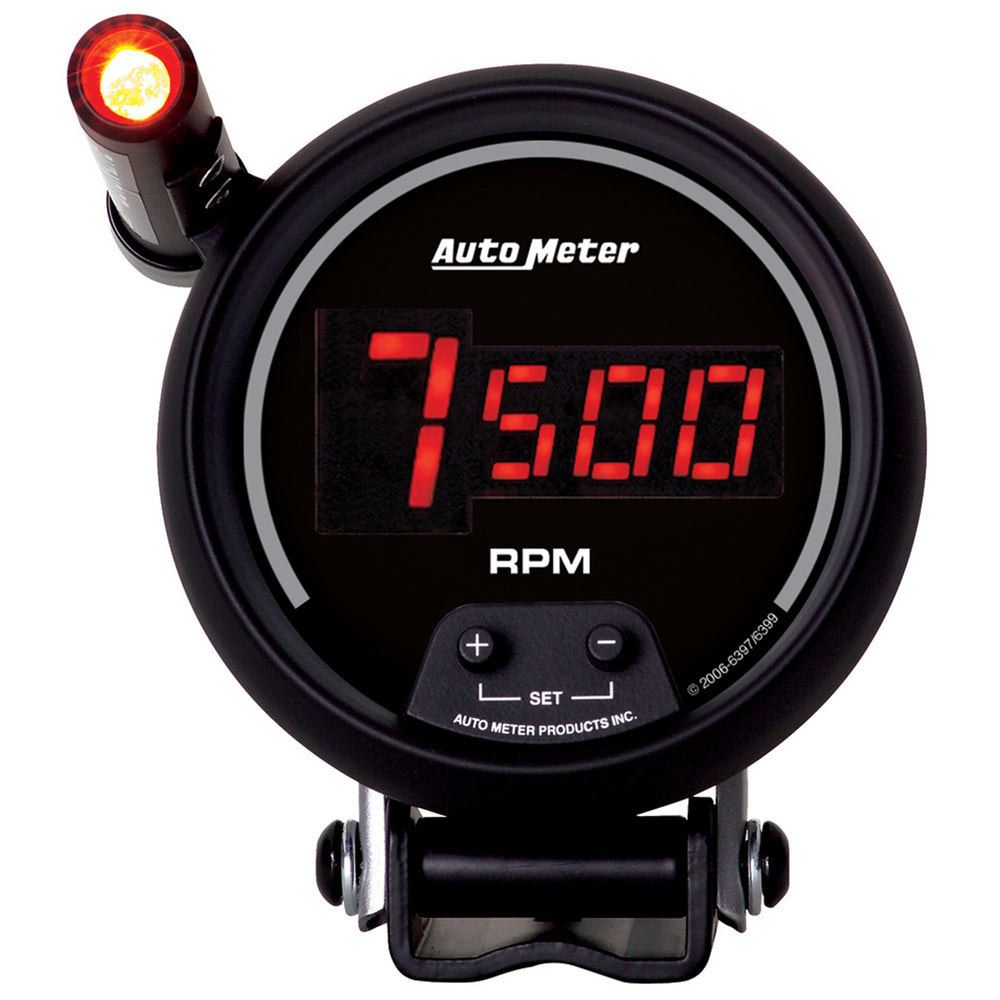 GAUGE, TACH, 3 3/4in, 10K RPM, PEDESTAL W/ QUICK-LITE,  DIGITAL, BLK W/ RED LED