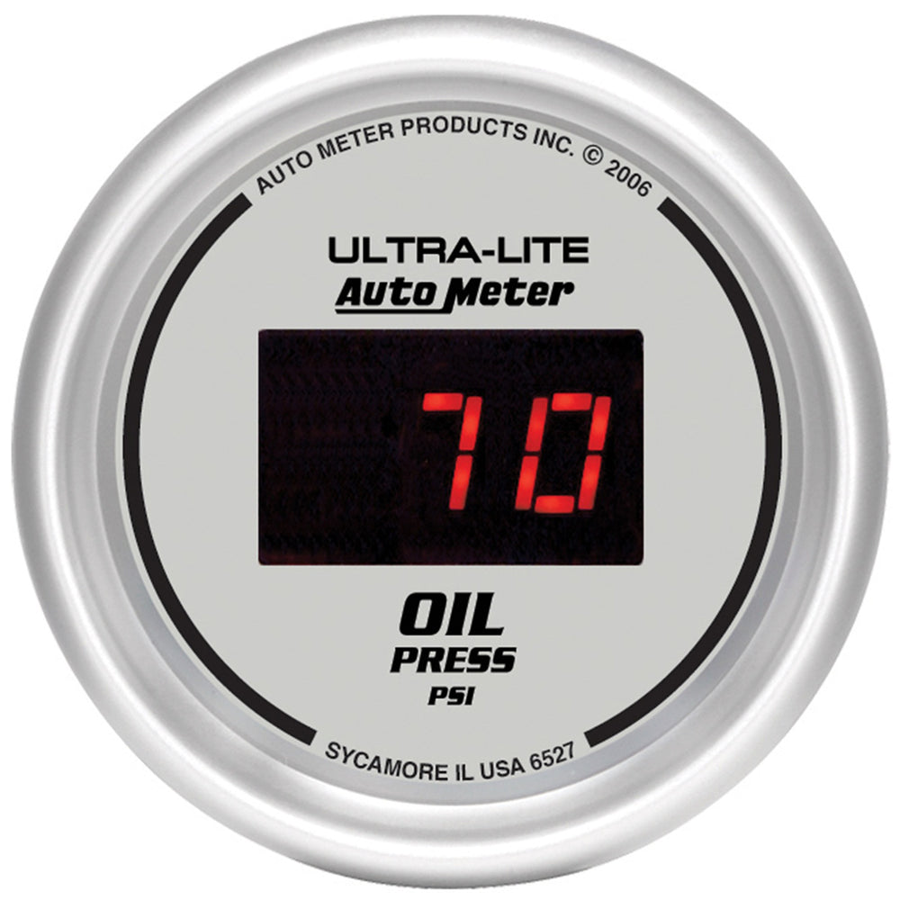 GAUGE, OIL PRESSURE, 2 1/16in, 100PSI, DIGITAL, SILVER DIAL W/ RED LED