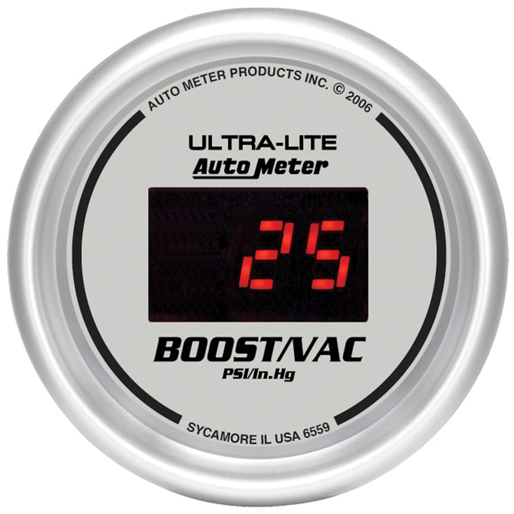 GAUGE, VAC/BOOST, 2 1/16in, 30INHG-30PSI, DIGITAL, SILVER DIAL W/ RED LED