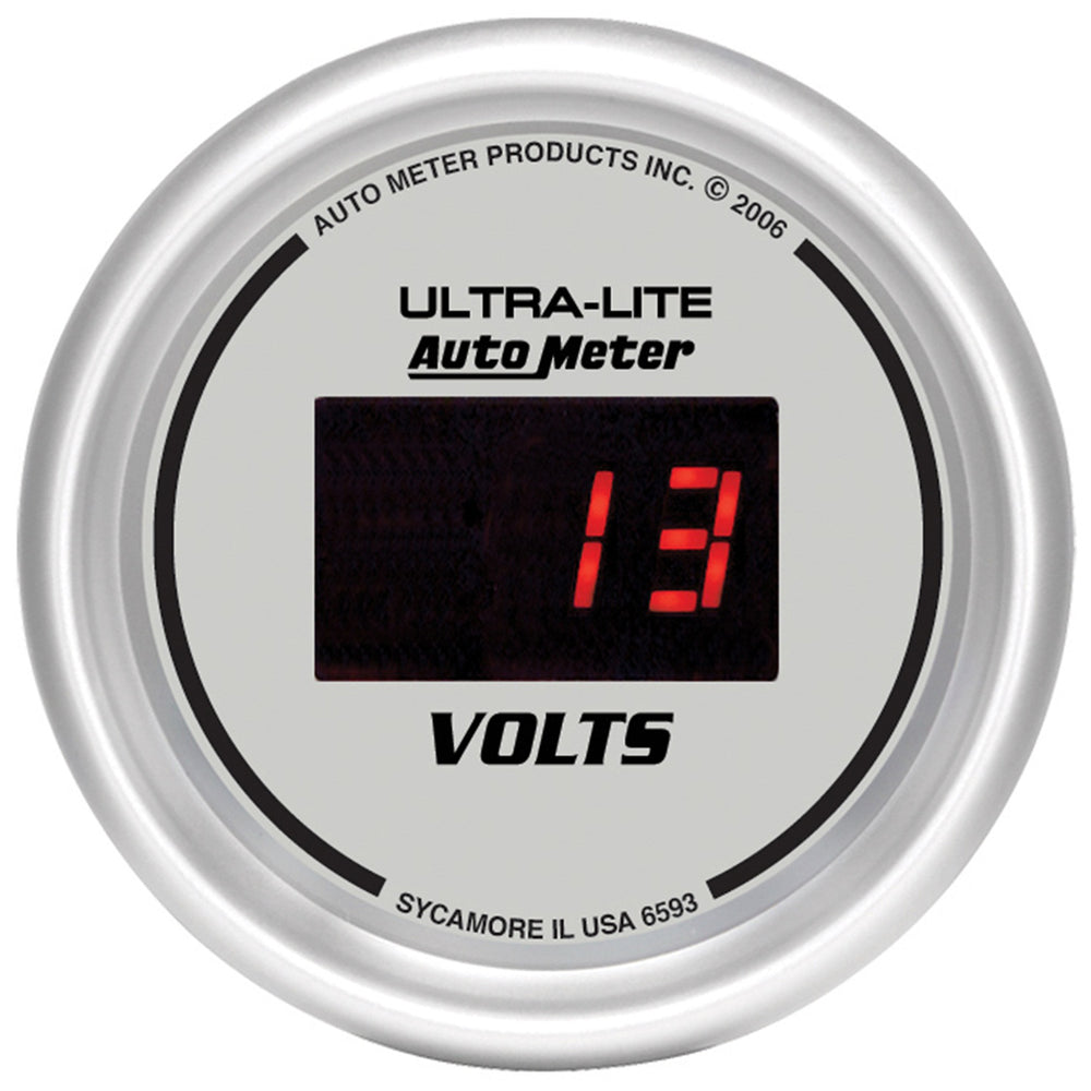 GAUGE, VOLTMETER, 2 1/16in, 18V, DIGITAL, SILVER DIAL W/ RED LED