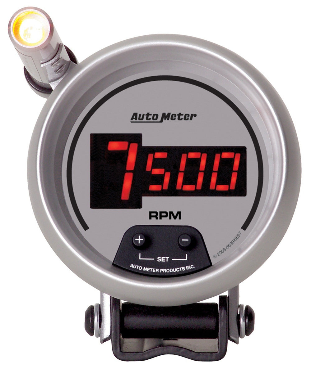 GAUGE, TACH, 3 3/4in, 10K RPM, PEDESTAL W/ QUICK-LITE,  DIGITAL, SLVR W/ RED LED