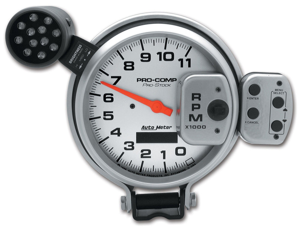GAUGE, TACH, 5in, 11K RPM, PRO-STOCK PEDESTAL W/ SUPER LITE & PEAK MEM, UL
