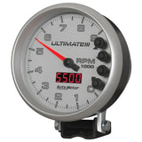 GAUGE, TACH, 5in, 9K RPM, PEDESTAL, DATALOGGING, ULTIMATE III PLAYBACK, SILVER