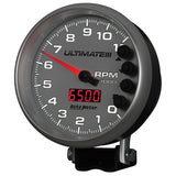 GAUGE, TACH, 5in, 11K RPM, PEDESTAL, DATALOGGING, ULTIMATE III PLAYBACK, SILVER