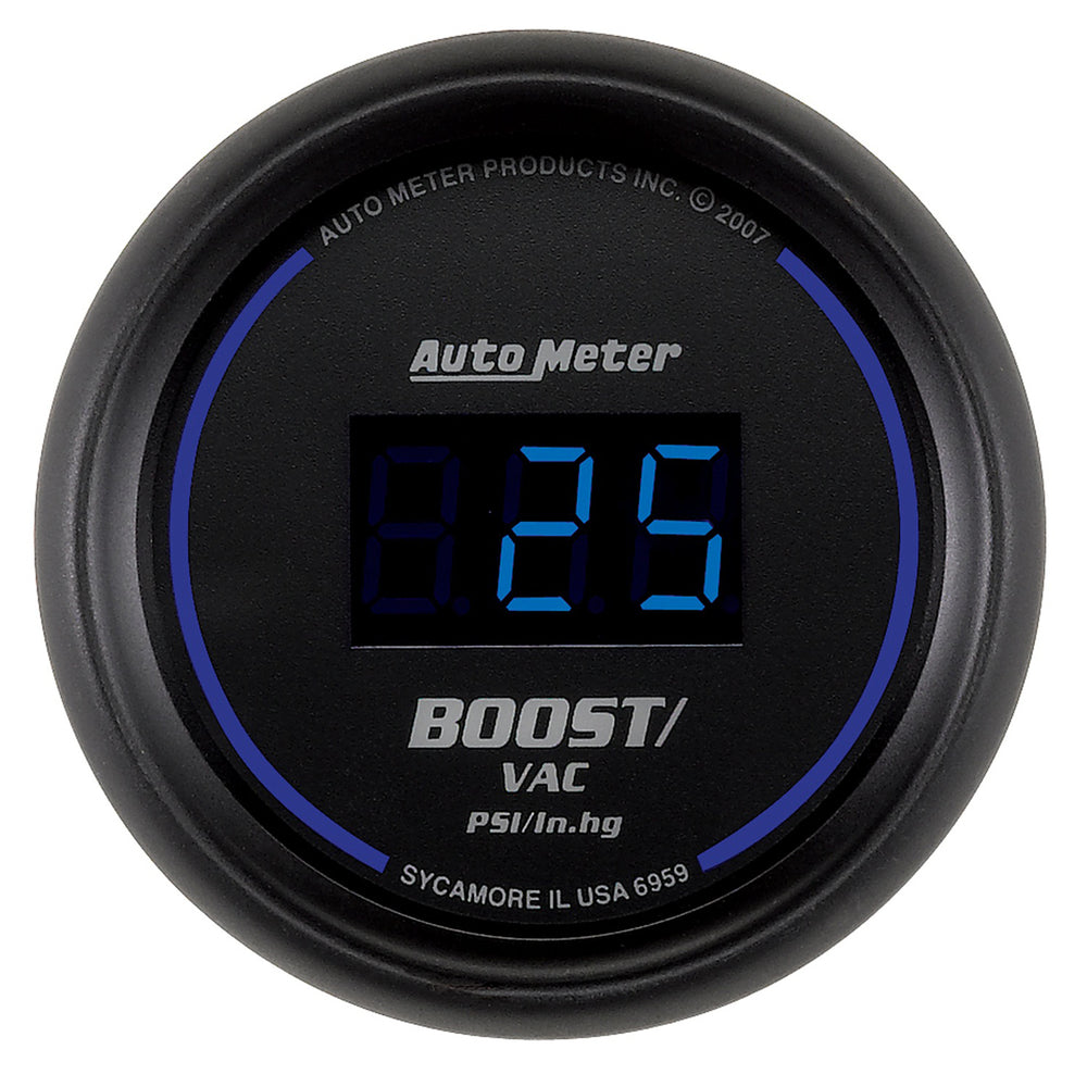GAUGE, VAC/BOOST, 2 1/16in, 30INHG-30PSI, DIGITAL, BLACK DIAL W/ BLUE LED