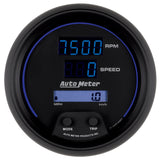 GAUGE, TACH/SPEEDO, 3 3/8in, 260MPH/260KMH/10KRPM, PRGRAM, DIGITAL, BK W/ BLU LED