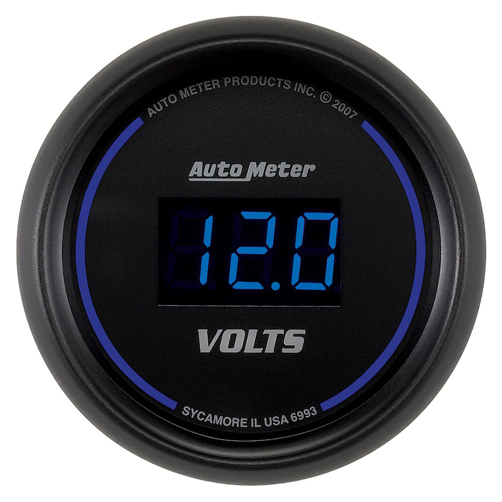 GAUGE, VOLTMETER, 2 1/16in, 18V, DIGITAL, BLACK DIAL W/ BLUE LED