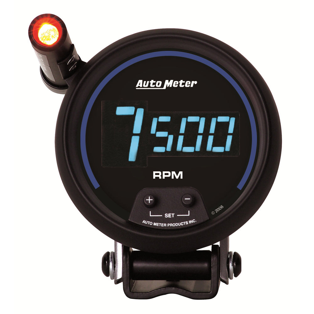 GAUGE, TACH, 3 3/4in, 10K RPM, PEDESTAL W/ QUICK-LITE,  DIGITAL, BLK W/ BLUE LED