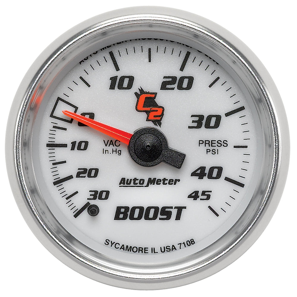 GAUGE, VAC/BOOST, 2 1/16in, 30INHG-45PSI, MECHANICAL, C2