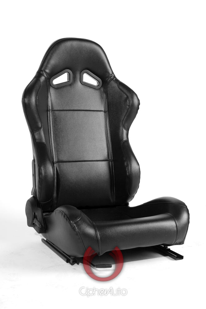CIPHER CPA1001 BLACK LEATHERETTE UNIVERSAL RACING SEAT PAIR