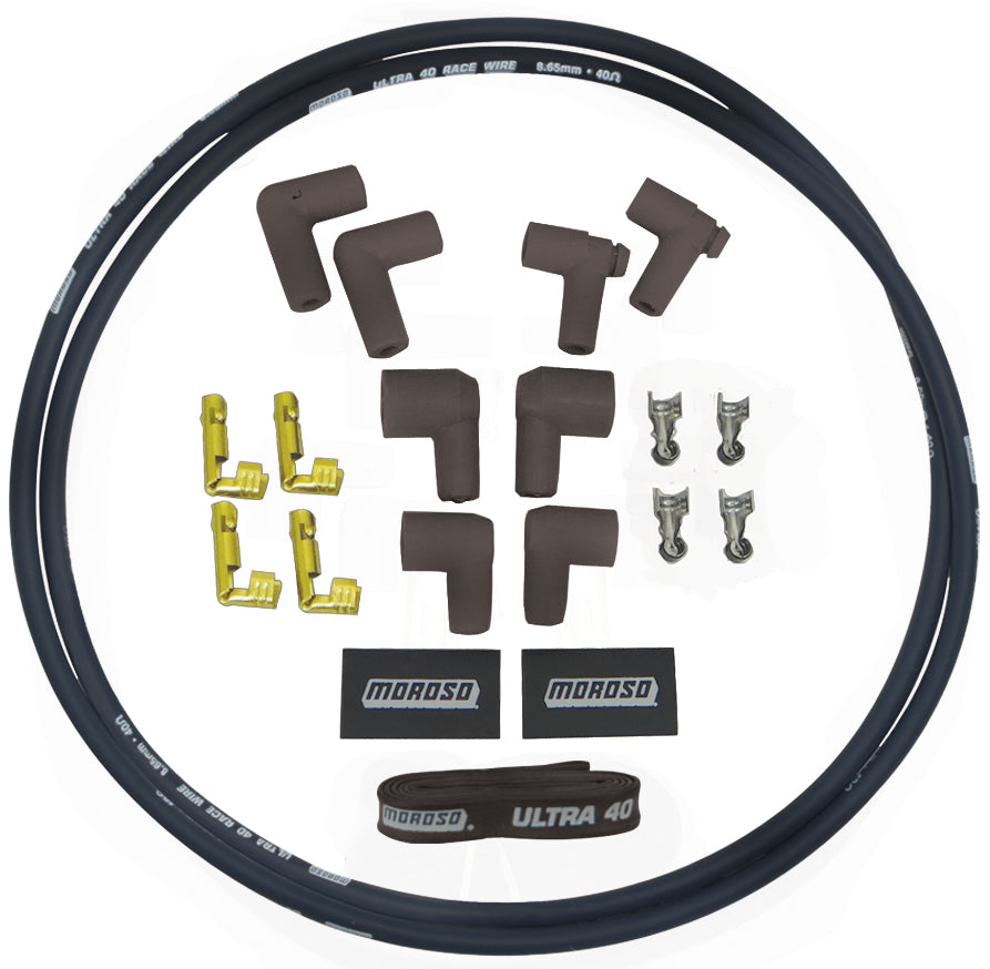 IGNITION COIL, REPLACEMENT SLEEVED. WIRE KIT, ULTRA 40, BLACK