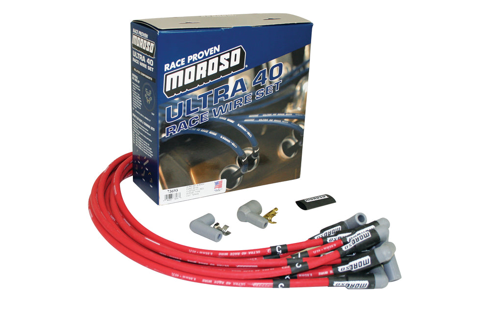 IGNITION WIRE SET, ULTRA 40, UNSLEEVED, FORD 351W, HEI, RED