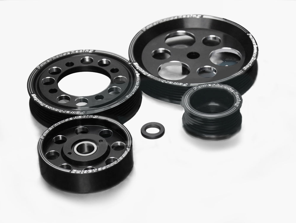 PHR BLACK EDITION BILLET ALUMINUM PULLEY SET FOR 2JZGTE 4 PIECE
