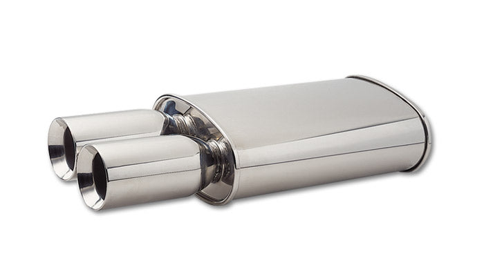 STREETPOWER Oval Muffler w/ Dual 3.5in Round Tips (3in inlet)