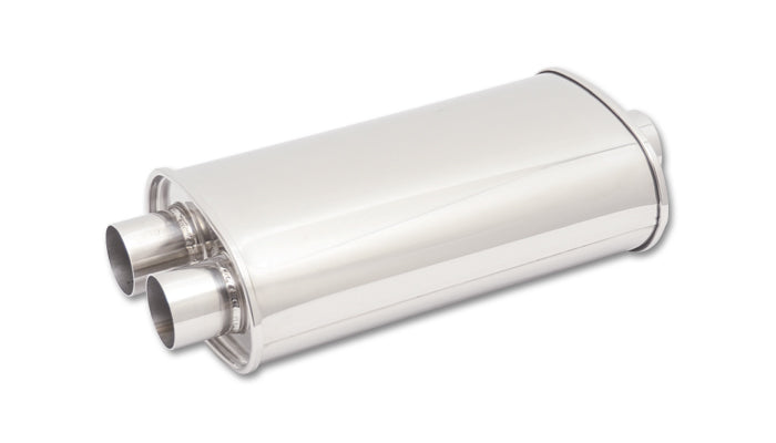STREETPOWER Oval Muffler, 2.5in inlet/outlet (Offset-Center)