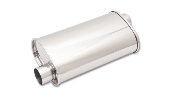 STREETPOWER Oval Muffler, 2.5in inlet/outlet (Offset-Offset)