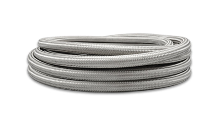 Braided Flex Hose, Stainless Steel, Size: -4AN, Hose ID: 0.22in, 20ft Roll