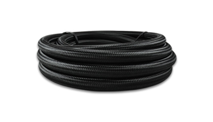 Braided Flex Hose, Nylon, Black/Red, Size: -12AN, Hose ID: 0.68in, 2ft Roll