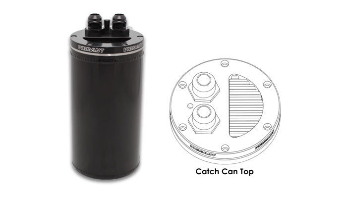 Catch Can with Integrated Filter, CNC Logo - Anodized Black