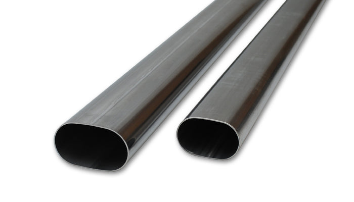 4in Oval (nominal) 304 Stainless Steel Straight Tubing - 5 feet long