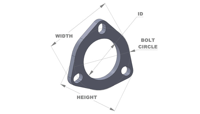3-Bolt Stainless Steel Flanges (2.25in I.D. x 3/8in Thickness) - Box of 5 Flanges