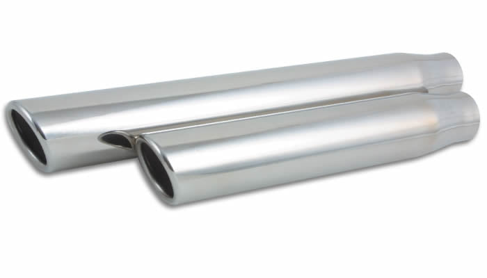 3.5in Round Stainless Steel Tip (Single Wall, Angle Cut) - 3in inlet, 11in long