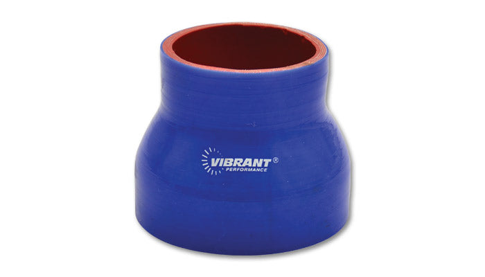 4 Ply Silicone Reducer Coupler, 2in x 2.5in x 3in Long - Blue