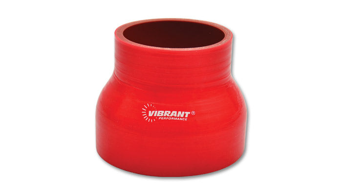 4 Ply Silicone Reducer Coupler, 2.25in x 2.5in x 3in Long - Red