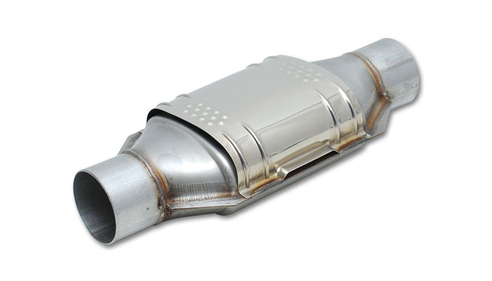 Round Metal Core Catalytic Converter, 2.5in Inlet/Outlet