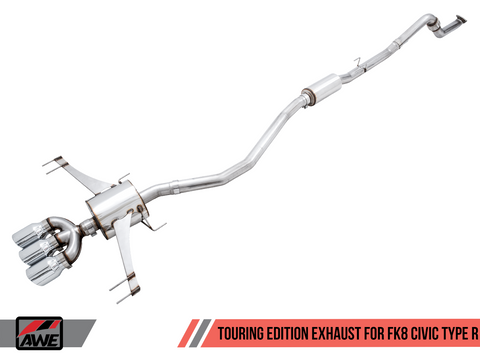 AWE Touring Edition Exhaust for FK8 Civic Type R (includes Front Pipe) - Triple Diamond Black Tips