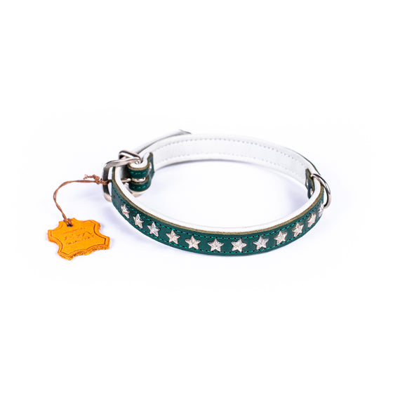 German Star Studded Leather Collar (Double Lined) - Small