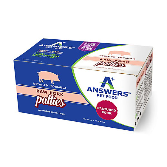 Answers Detailed Pork Frozen RAW Diet (Patties)