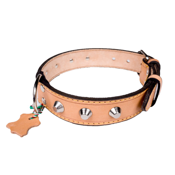 European Leather Studded Collar - Medium