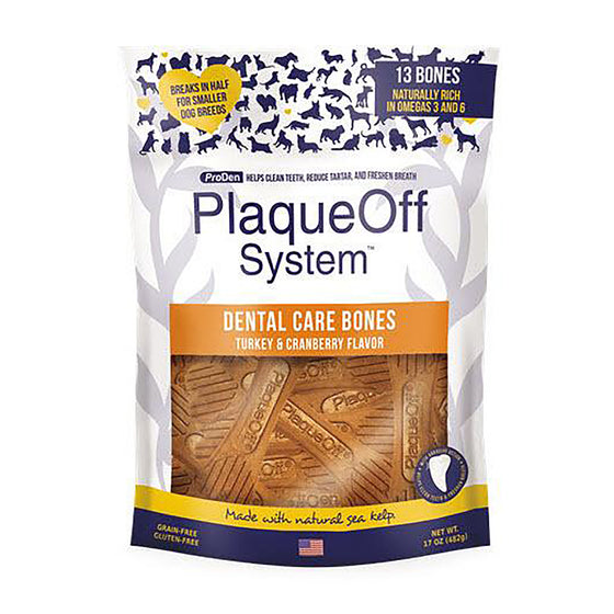 ProDen PlaqueOff System Dog Dental Care Bones Turkey & Cranberry Flavor