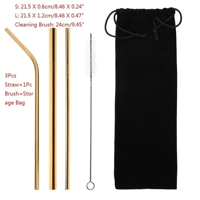 4/6/8Pcs/lot Reusable Stainless Steel Metal Straw with 1/2/3 Brush