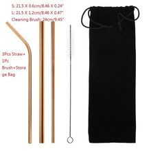 Load image into Gallery viewer, 4/6/8Pcs/lot Reusable Stainless Steel Metal Straw with 1/2/3 Brush