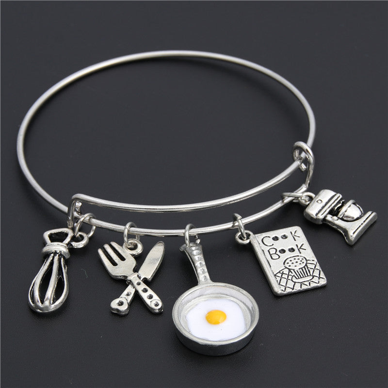 1pc Egg Pan Charm Bangle Bracelet