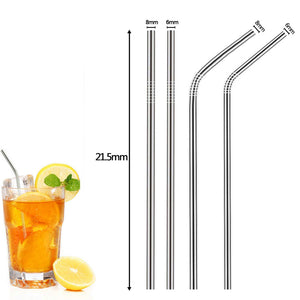 4pcs Bendable Long Stainless Steel Straws