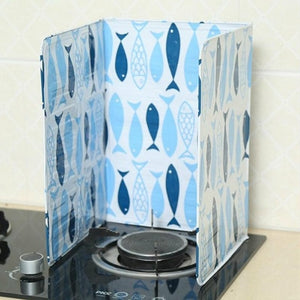 Fish Printed Oil Aluminium Foil Plate Gas Stove Oil Splatter Screens Kitchen Tools Cooking Insulate Splash Proof Baffle Plate