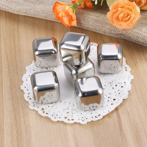 6pcs Stainless Steel Reusable Ice Cubes Chilling Stones