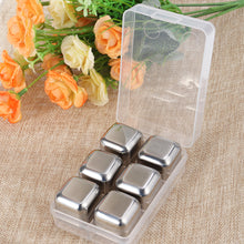 Load image into Gallery viewer, 6pcs Stainless Steel Reusable Ice Cubes Chilling Stones
