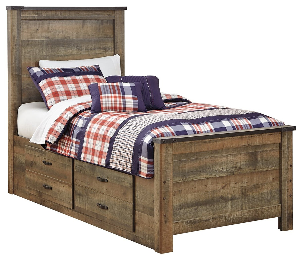 Signature Design by Ashley Trinell Twin Panel Bed with 2 Storage Drawers